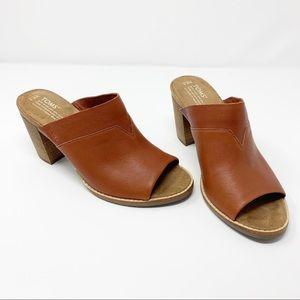 TOMS • Cognac Leather Majorca Mules